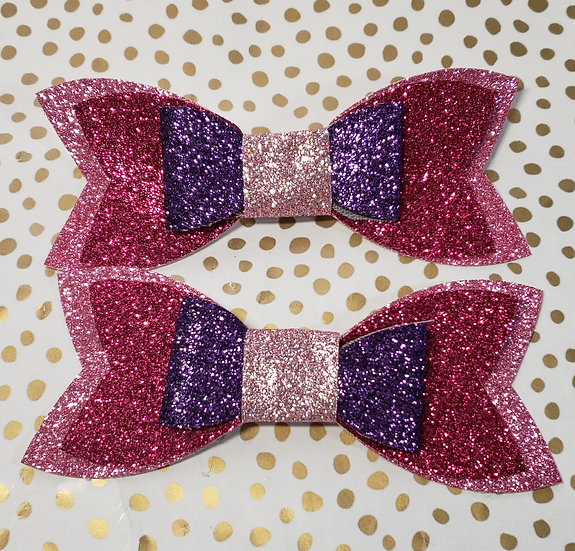 Pink and purple canvas hair bows