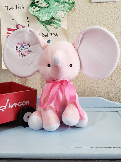 Personalized Embroidery Pink Elephant plush