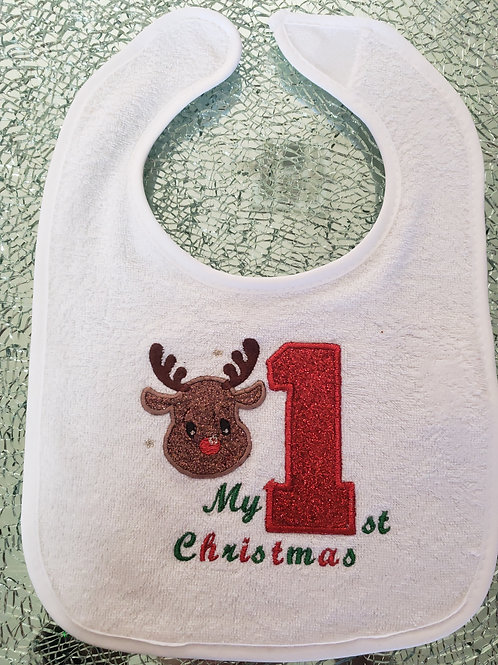 Personalized Embroidery Applique first Christmas bib