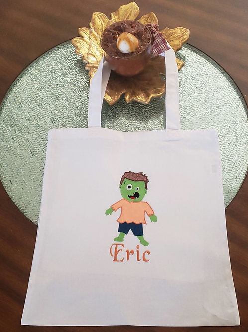 Personalized Embroidery Applique Halloween candy bag canvas tote bag