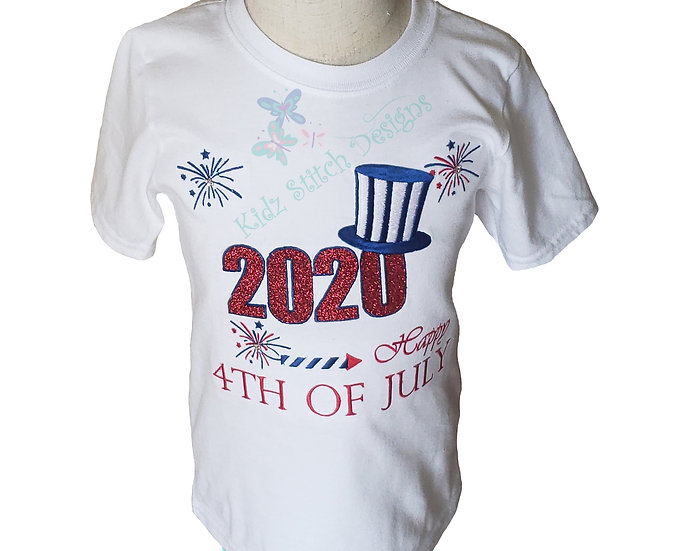 4th  of July  Embroidery Applique T-Shirt