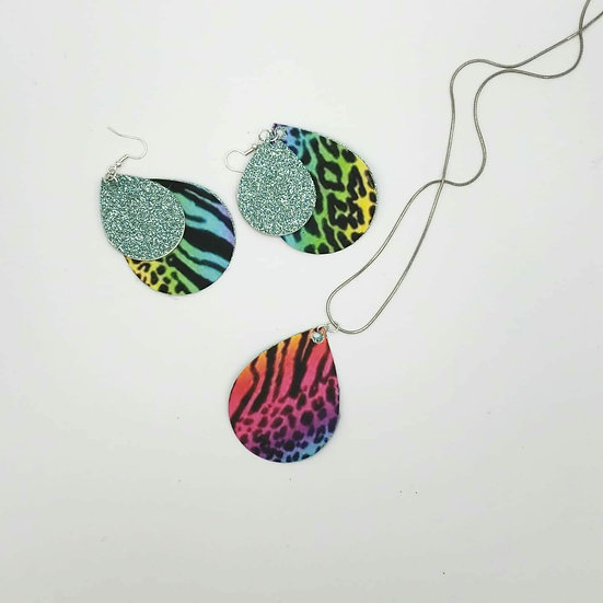 Rainbow leopard earrings and necklace set