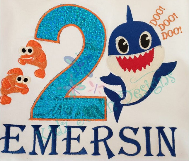 Personalized Baby shark Embroidery Applique T-Shirt
