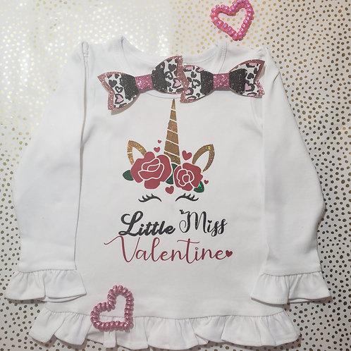 Little miss valentine Unicorn shirt