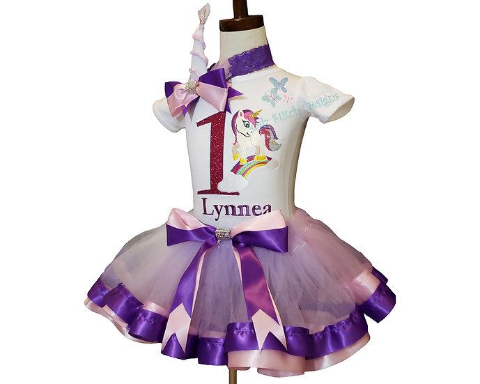 Personalized Embroidery Unicorn  rainbow Applique Tutu set