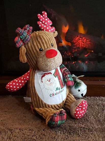 Personalized Embroidery Harlequin Reindeer plush