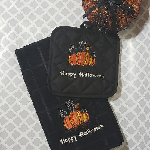 Halloween pumpkin kitchen towel set