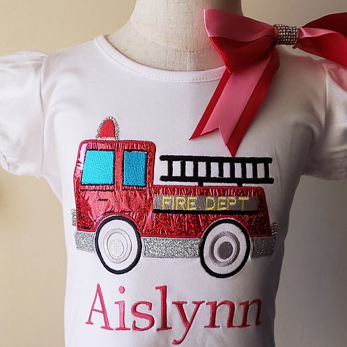 Personalized Embroidery Applique Firetruck Shirt