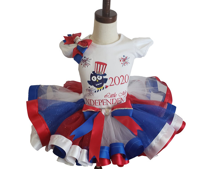 4th of July Owl Embroidery Tutu Outfit