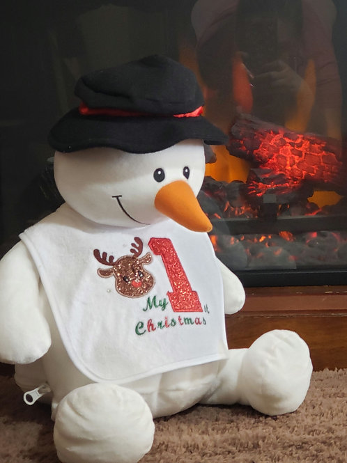 Personalized Embroidery Christmas Snowman plush