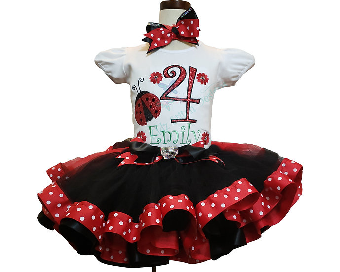 Personalized Embroidery Applique lady bug Tutu set