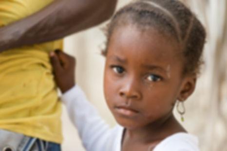 Portrait of African black little girl lo