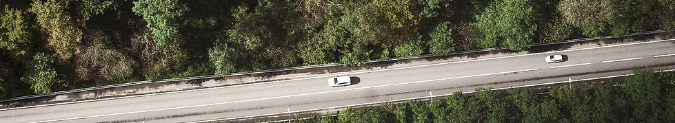 Arial view cars on roadway