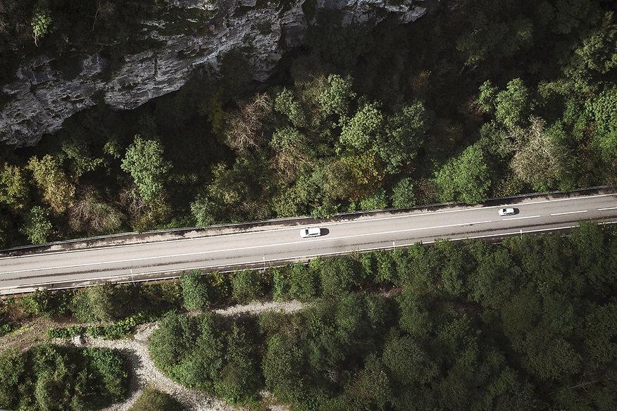 Photo aérienne d'une route