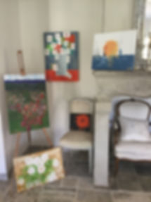 Painting exhibition a the end of the Provence Painting Vacation hosted by Art by Wietzie in Lorgues, France