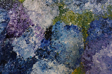 Abstract blue hydrangeas acrylic original painting by Wietzie