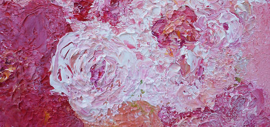Original abstract red and pink peonies painting by Wietzie