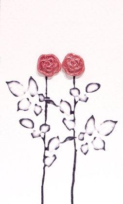 Rose earrings (Red)