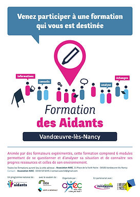 Affiche-Formation des aidants-Association; Association Française des Aidants; Association AVEC; Vandoeuvre-lès-Nancy;