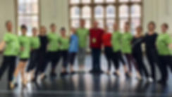 Teacher Certification Level C participants pose with their certificates of completion in their program t-shirts with Bolshoi Ballet Academy teacher Natalya Revich.