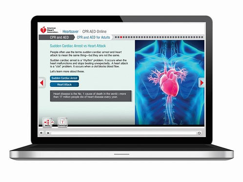 Heartsaver CPR AED Online (course + skills session)