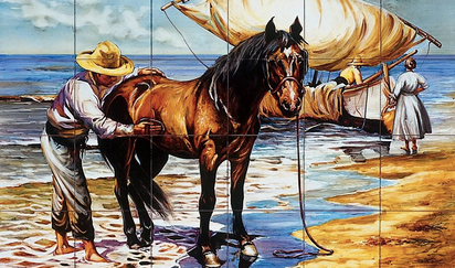 mural caballo mar