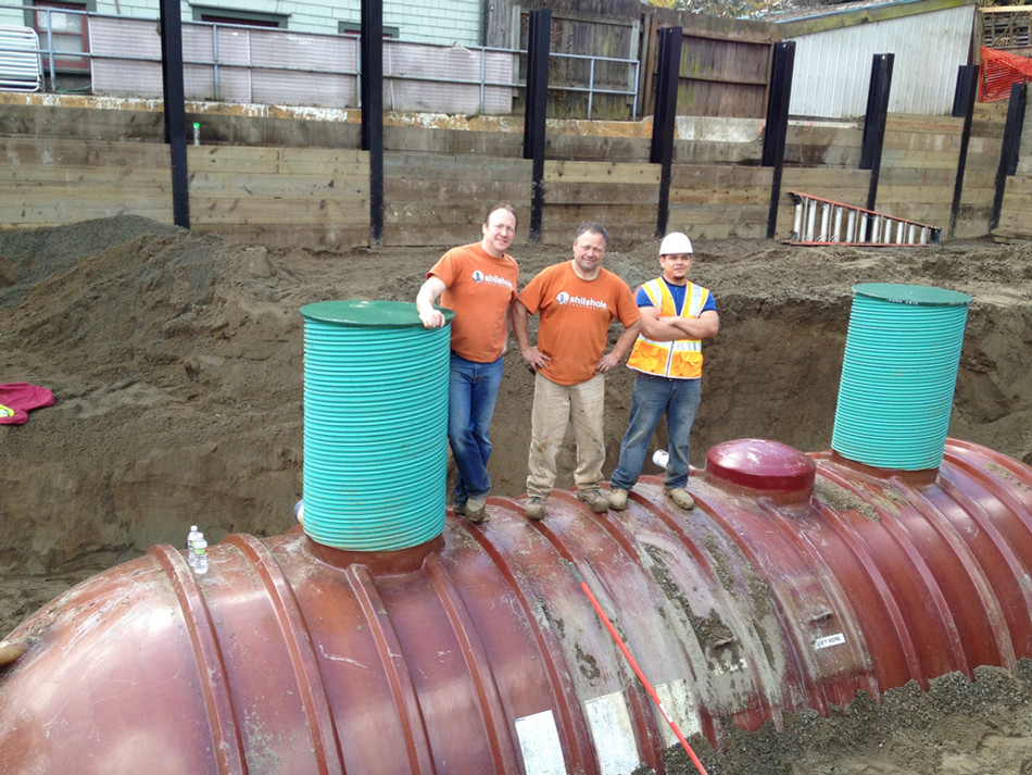 30,000-gallon rainwater cistern installed at Pike Station in Madrona