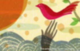 Hand reaching up to a bird
