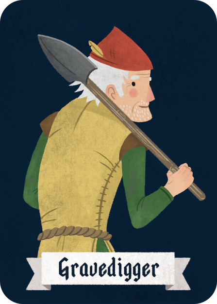Customizable card: The Gravedigger has no mechanic pre-assigned to him, so beginners can treat him as a regular Villager, and more experienced players with a flair for game design can come up with their own role before the start of the game.   For instance: if you are playing with the rule that players who die do not reveal their character cards, have the Narrator reveal their card to the group so long as the Gravedigger is alive/in play. Alternatively, if the Gravedigger is the last Villager standing, even if there are still Werewolves and other villains in play, he wins the game.