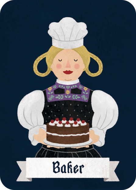 Customizable card: The Baker has no mechanic pre-assigned to her, so beginners can treat her as a regular Villager, and more experienced players with a flair for game design can come up with their own role before the start of the game.