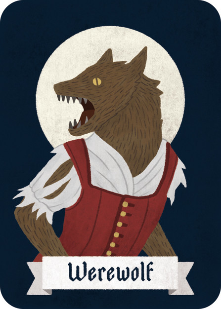 """Few but strong, Werewolves kill one player each night and try to turn the Villagers against each other during the day.    During each night phase the Werewolves """"wake up"""" and silently acknowledge one another. Using only gestures, they must decide on a victim and point at the player, letting the Narrator know who they are attacking. The Werewolves win if their numbers are equal to the Villagers. (For example, 2/2 or 1/1)  Optional Rule: Werewolves can outright lie about their role, claiming to be a simple Villager, a Clairvoyant or any other innocent role."""