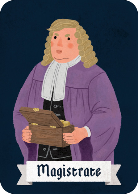 The Magistrate is on team village, but is more of a self-serving role. Mostly he just wants to survive the carnage unscathed. Once (or twice for larger games), he can bribe another player during the night to abandon their work, post, or patient to come help him. For instance, he can force the Physician to help him instead of their chosen patient, or make the Watchman protect him. The player who is bribed does not see the Magistrate, but the moderator taps them on the shoulder so they know that they've been bribed.