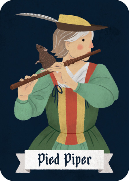 The Pied Piper is on her own team. She is neither Villager nor Werewolf. Every night she can enchant one player (or two in larger games). She closes her eyes again and they wake up to take note of who has been enchanted. She wins if she enchants all players.
