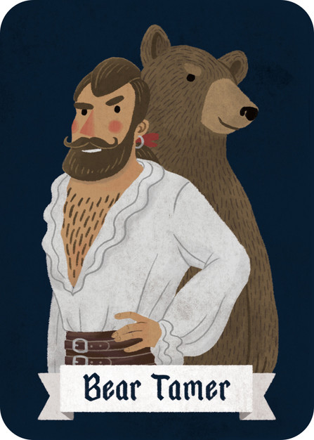 The Bear Tamer is a fun, silly role with a very simple mechanic. He raised his bear from a young cub, and counts on the animal's good sense of smell to warn him of danger. On the first morning that the Village wakes, the Narrator will growl if the Bear Tamer is seated next to a Werewolf.