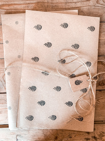 Hand Stamped Festive Gift Wrap