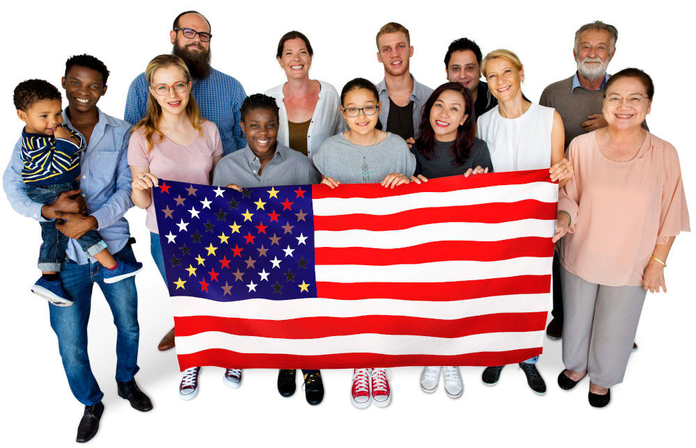 civil rights us flag front-image mixed group of happy people, holding up the new civil rights US flag and standing up for civil rights, equal rights, and human rights