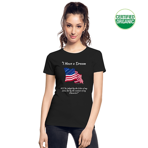 A girl wears a black t-shirt with the Civil Rights US flag on it, and the words I have a dream