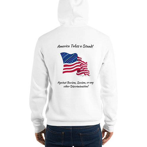 Man wear white Hoodie with the Civil Rights US flag on it, and the words America takes a stand