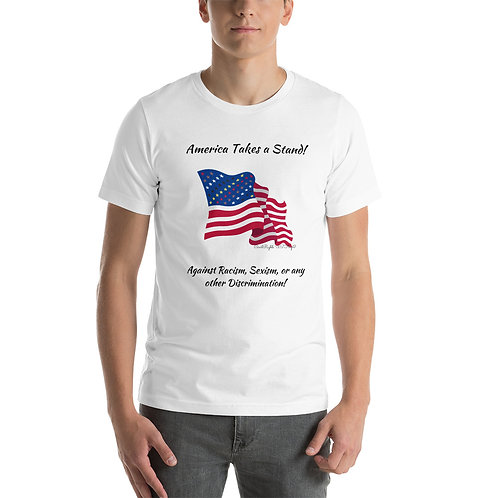 A man wears a white t-shirt with the Civil Rights US flag on it, and the words America takes a stand