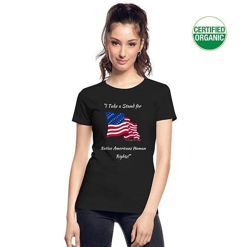A girl wears a black t-shirt with the Civil Rights US flag on it, and the words Take a Stand for native Americans Human Right