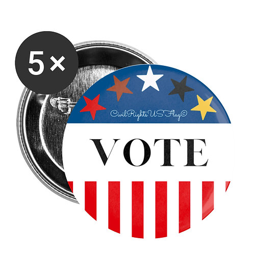 Civil Rights US-Flag Buttons large, shows text Go Vote