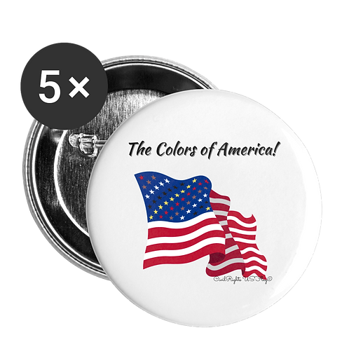 Civil Rights US-Flag Buttons large, shows text The colors of America