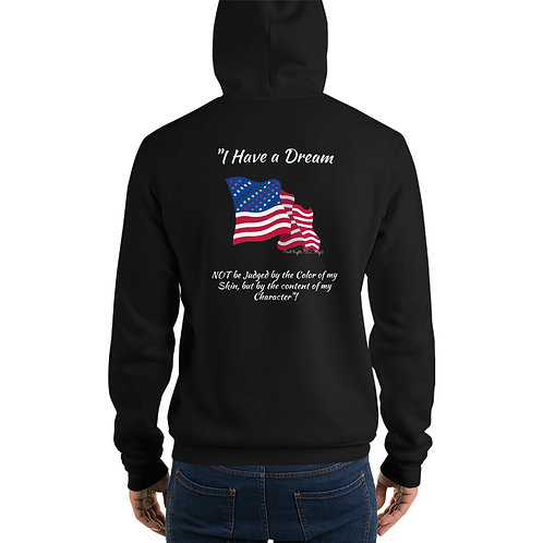 Man wear black Hoodie with the Civil Rights US flag on it, and the words I have a dream, close up