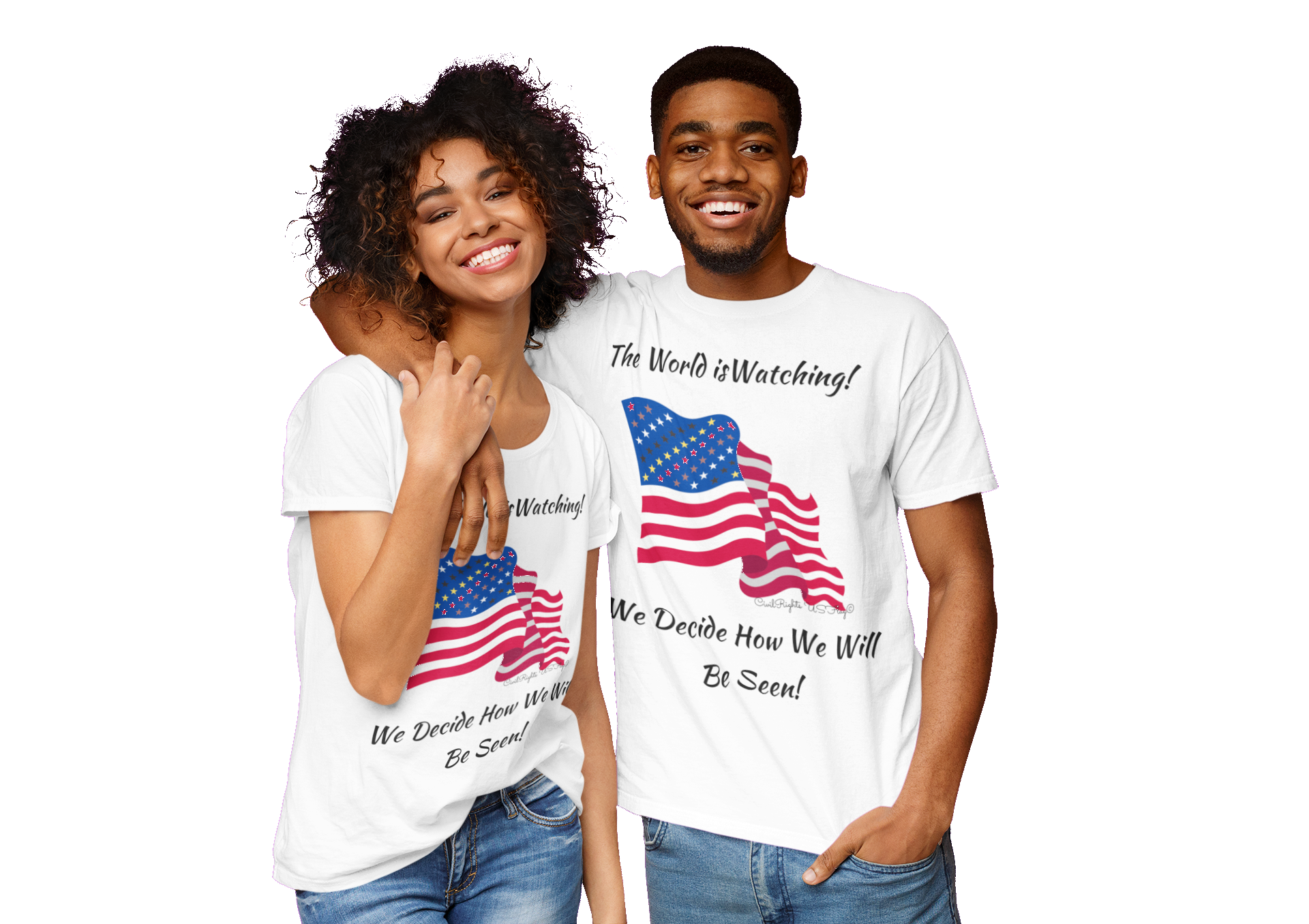 Civil Rights US Flag the World is Watching Eco friendly T-shirt
