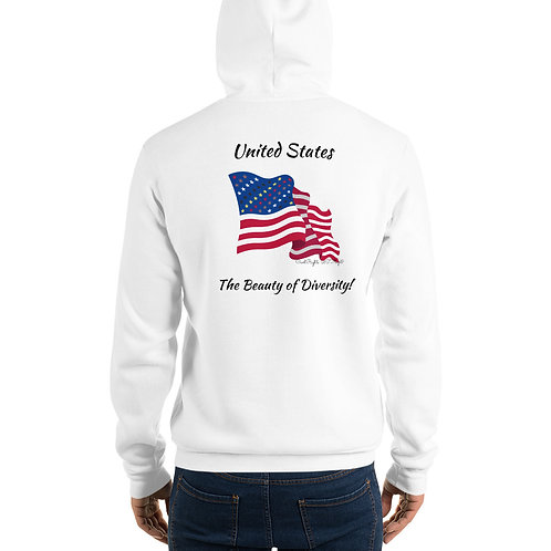 Man wear white Hoodie with the Civil Rights US flag on it, and the words The Beauty of Diversity