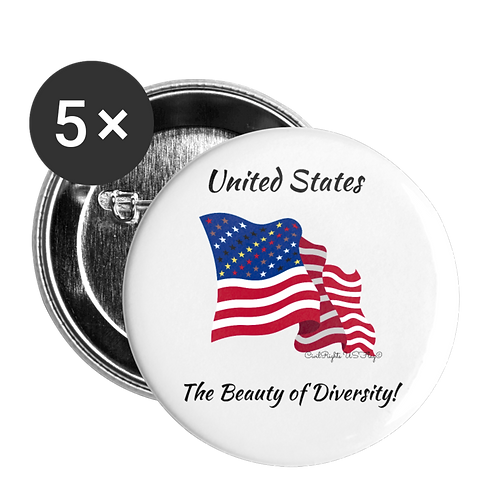 Civil Rights US-Flag Buttons large, shows text The beauty of Diversity
