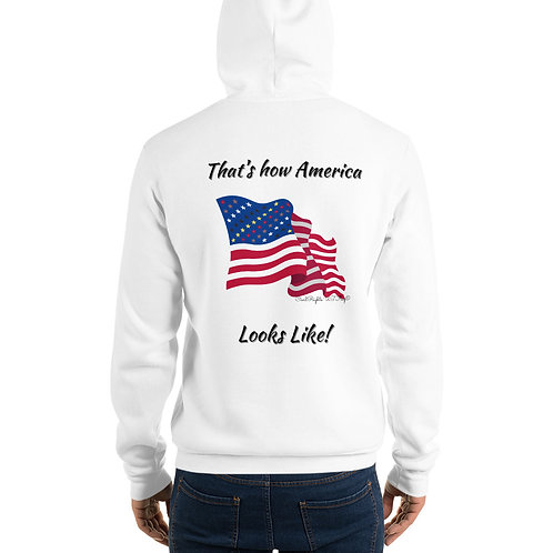 Man wear white Hoodie with the Civil Rights US flag on it, and the words That's how America looks like