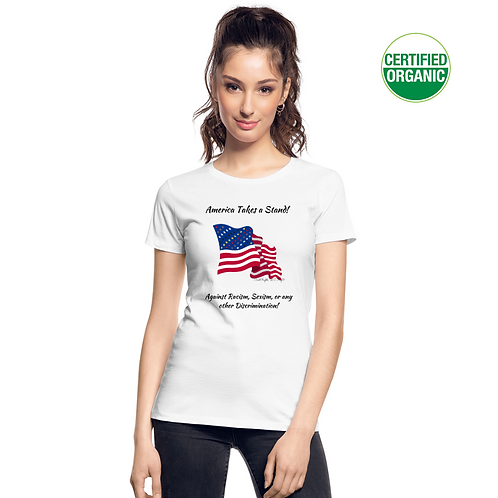 A girl wears a white t-shirt with the Civil Rights US flag on it, and the words America takes a stand