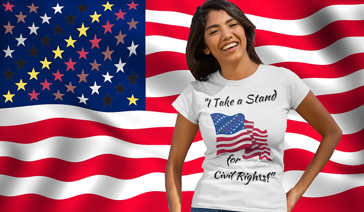 Young, friendly Latina stands laughing in front of the new Civil Rights US flag