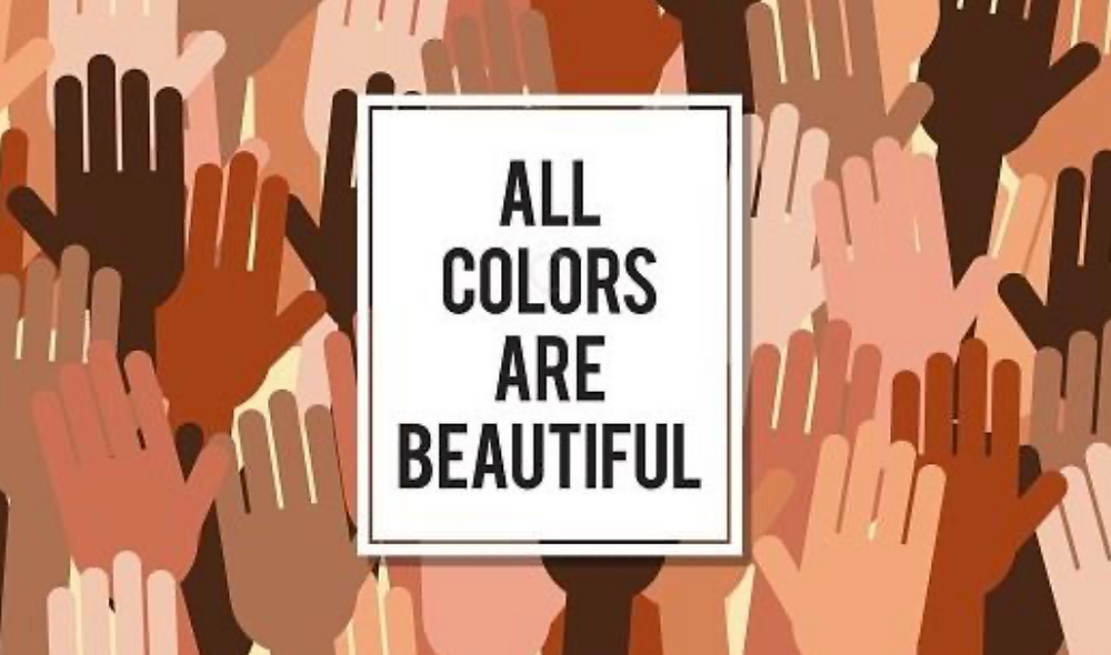 A lot of different skin color hands, All colors are beautiful